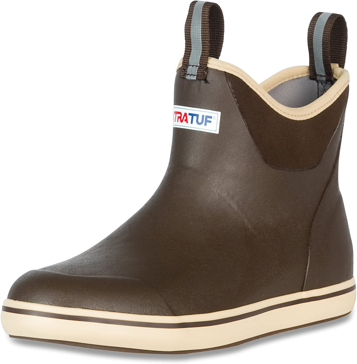 """XTRATUF Performance Series 12"""" Men's Full Rubber Ankle Deck Boots, Chocolate & Tan (22734)"""