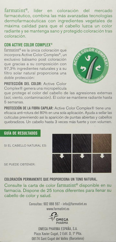 Farmatint Gel 4N Castaño. Tinte permanente. Cabello natural y color duradero. Sin amoníaco ni parabenes ni parafinas ni siliconas.