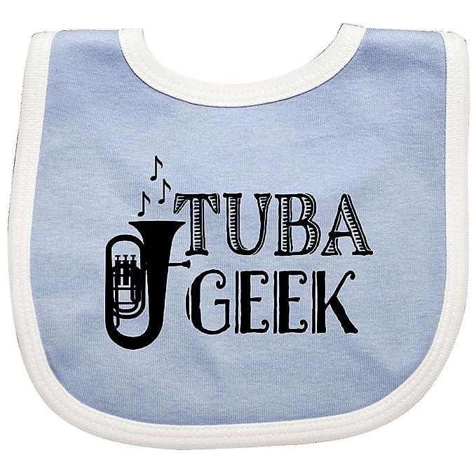 64a4fa9e Amazon.com: Inktastic - Tuba Player Music Gift Baby Bib Blue/White ...
