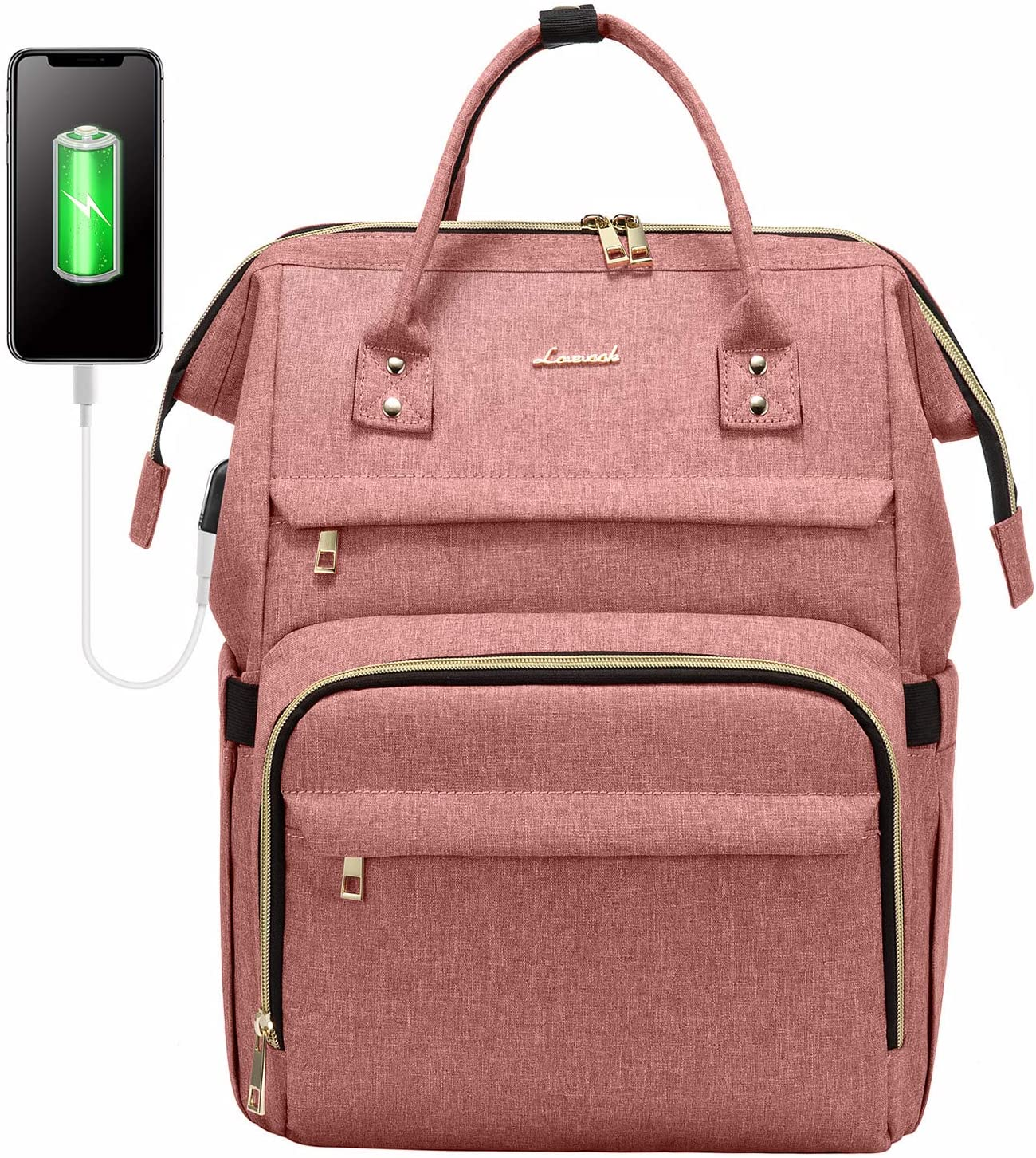 Laptop Backpack for Women Fashion Travel Bags Business Computer Purse Work Bag with USB Port, Light-Pink