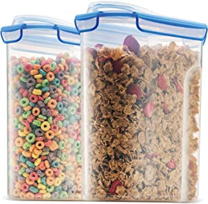 Extra Large Cereal Containers Storage Set [2pk,168oz-21cup] Airtight Silicone Sealed Locking Lids Maintains Freshness -Space-Saving Cereal Container -Food-Storage Containers For Flour, Sugar, Rice Etc