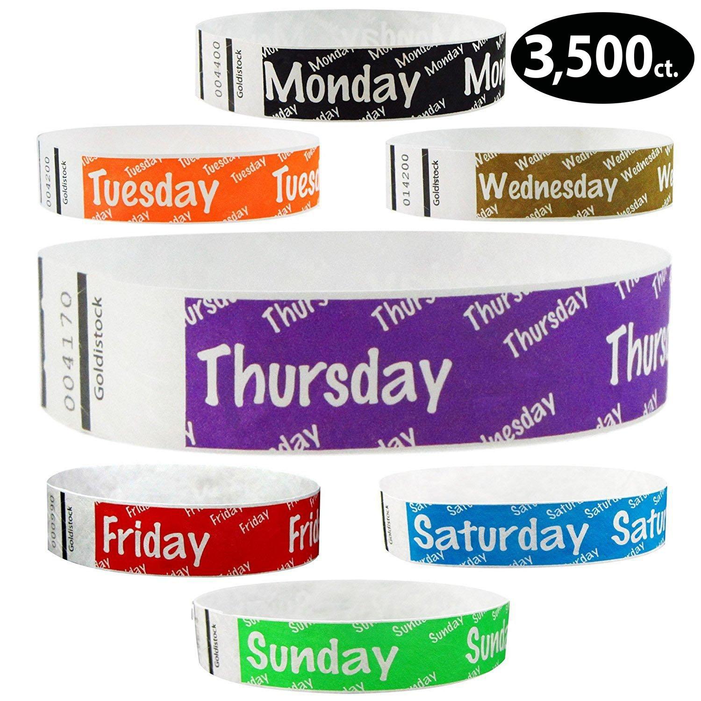 Goldistock 3/4'' Tyvek Wristbands Variety Pack 3,500 Count- Monday (Black), Tuesday (Orange), Wednesday (Gold), Thursday (Purple), Friday (Red), Saturday (Blue), Sunday (Green)