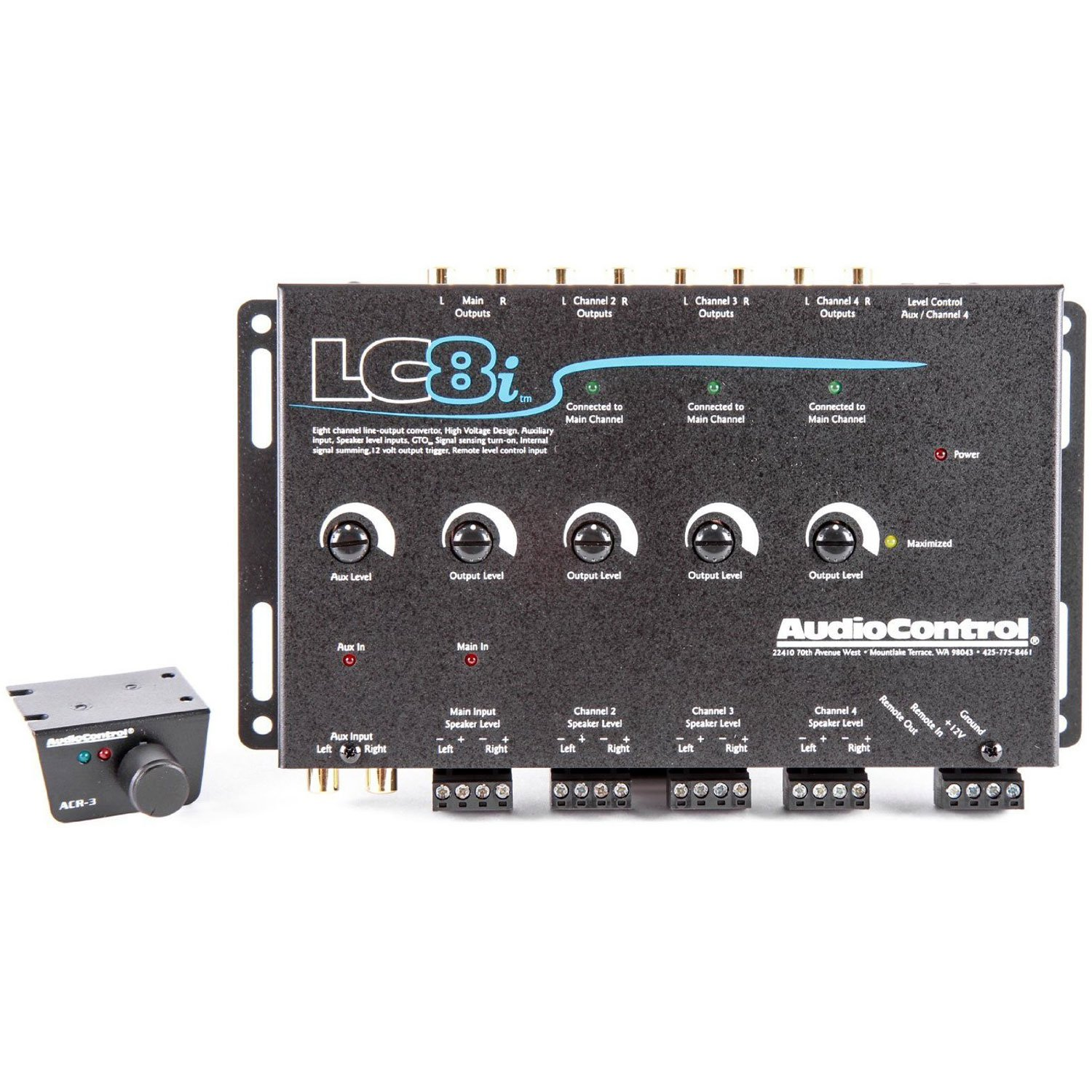 AudioControl LC8i Black Eight Channel Line Output Converter with Auxiliary Input