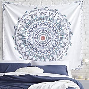 Bedsure Mandala Tapestry Wall Hanging for Bedroom Aesthetic, White Tapestry, Throw Size(50x60Inches)