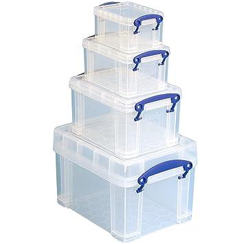 Really Useful - Juegos de cajas plásticas con tapa y asas, transparente: Amazon.es: Oficina y papelería