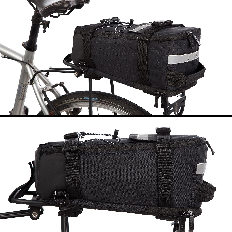 BTR Borsa per Bici Resistente allAcqua da Portapacchi Bici Adatta a Tutti i Portapacchi Posteriori Bicicletta con Rete portaoggetti /& Copertura per Pioggia per Rendere la Borsa Impermeabile