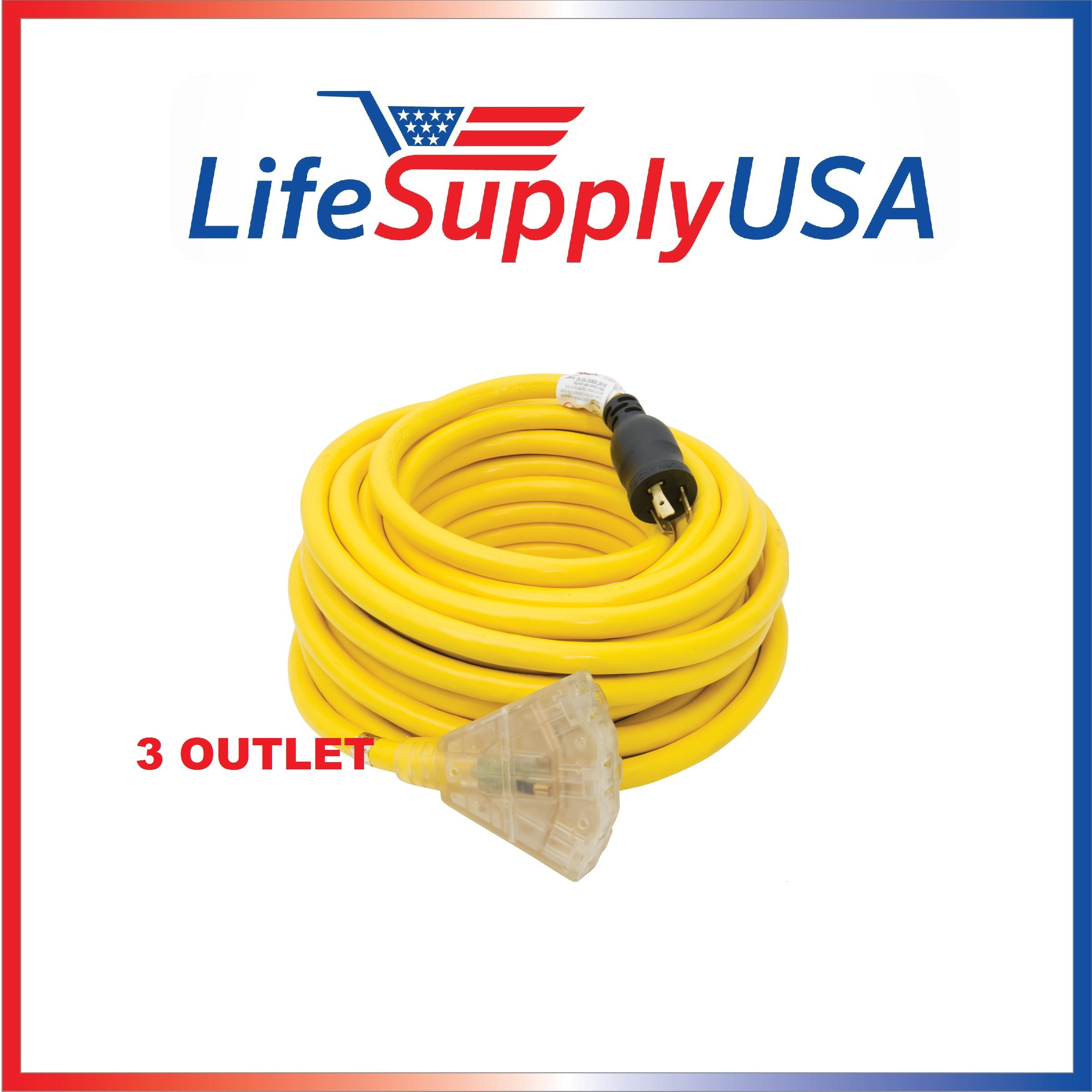 10/3 25 ft LIGHTED Generator Power Cord with L5-30P Plug and 3-Outlets 25 Foot 25Feet 25ft