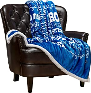 Chanasya Hope and Faith Prayer Inspirational Message Gift Throw Blanket - Posivite Energy Love Comfort Caring Thoughtful Uplifting Healing Gift for Best Friend Women Men - Blue Blanket