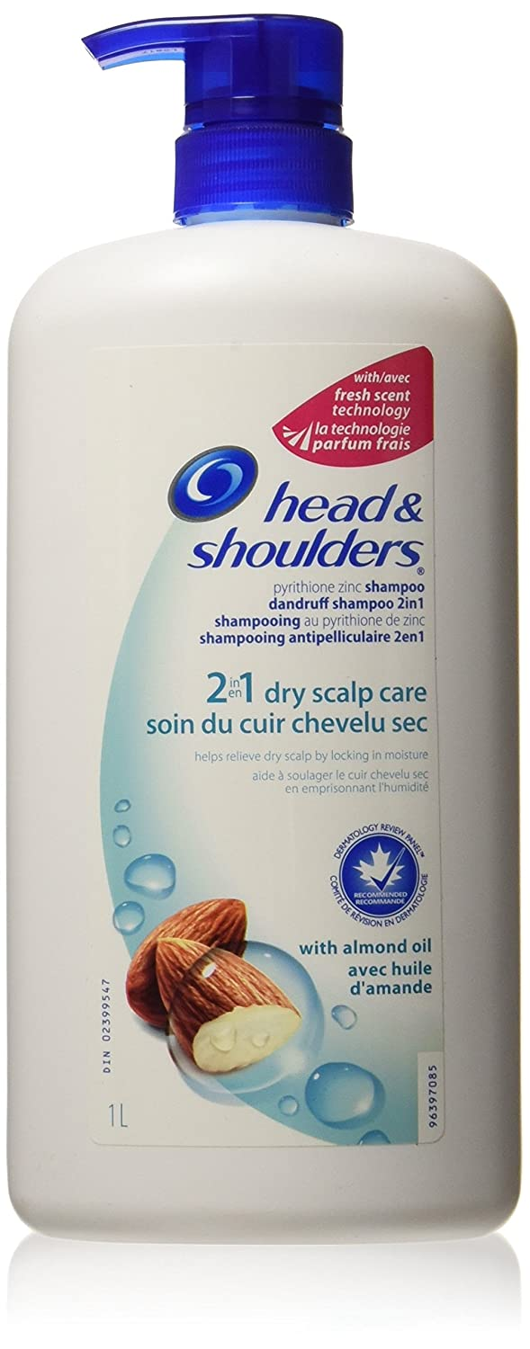 Head & Shoulders Dry Scalp Care 2-in-1 Dandruff Shampoo and Conditioner with Pump 1 Liter- Packaging May Vary