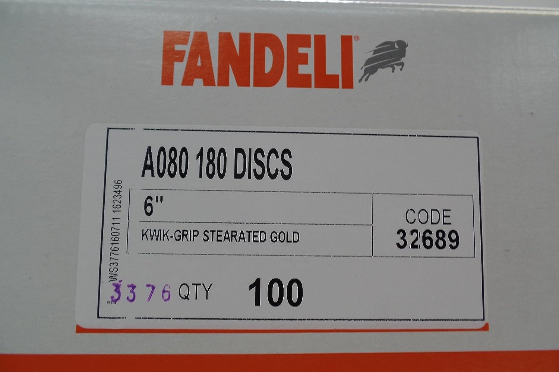 A080-180 6 X 0 KWIK-GRIP GOLD DISCS FANDELI SANDPAPER
