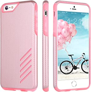 iPhone 6 Plus Case, iPhone 6S Plus Case, BENTOBEN Anti-Slip 2 in 1 Dual Layer Hybrid Scratch Resistant Hard PC Soft TPU Bumper Shockproof Protective Case for iPhone 6/6S Plus (5.5 inch), Rose Gold