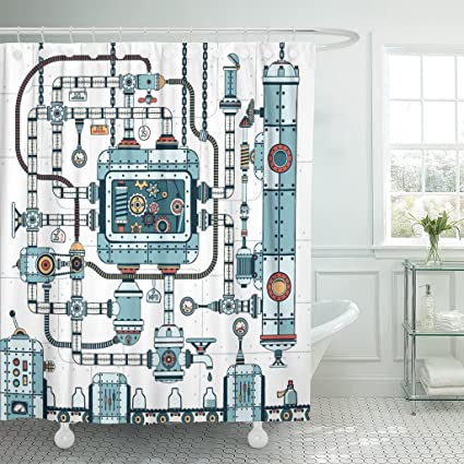 TOMPOP Shower Curtain Fantastic Complex Steampunk Machine Made Of Interlocking Pipes Cables Waterproof Polyester Fabric 72