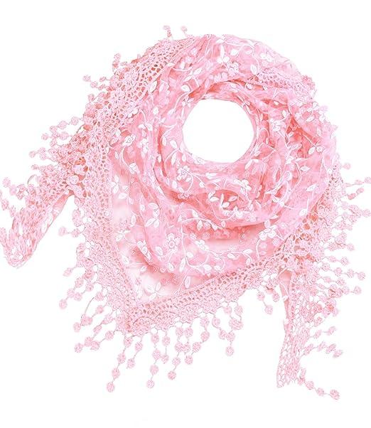 billig zu verkaufen elegant im Stil perfekte Qualität Caripe Damen Dreieckstuch Halstuch Spitze Schal Blumen Glitzer Glitzerschal  - glittra