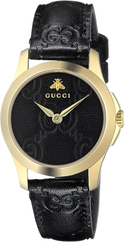 Gucci Reloj Análogo clásico para Mujer de Cuarzo con Correa en Cuero YA126581