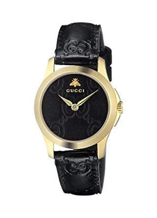 Gucci Quartz Gold-Tone and Leather Casual Black Womens Watch(Model: YA126581)