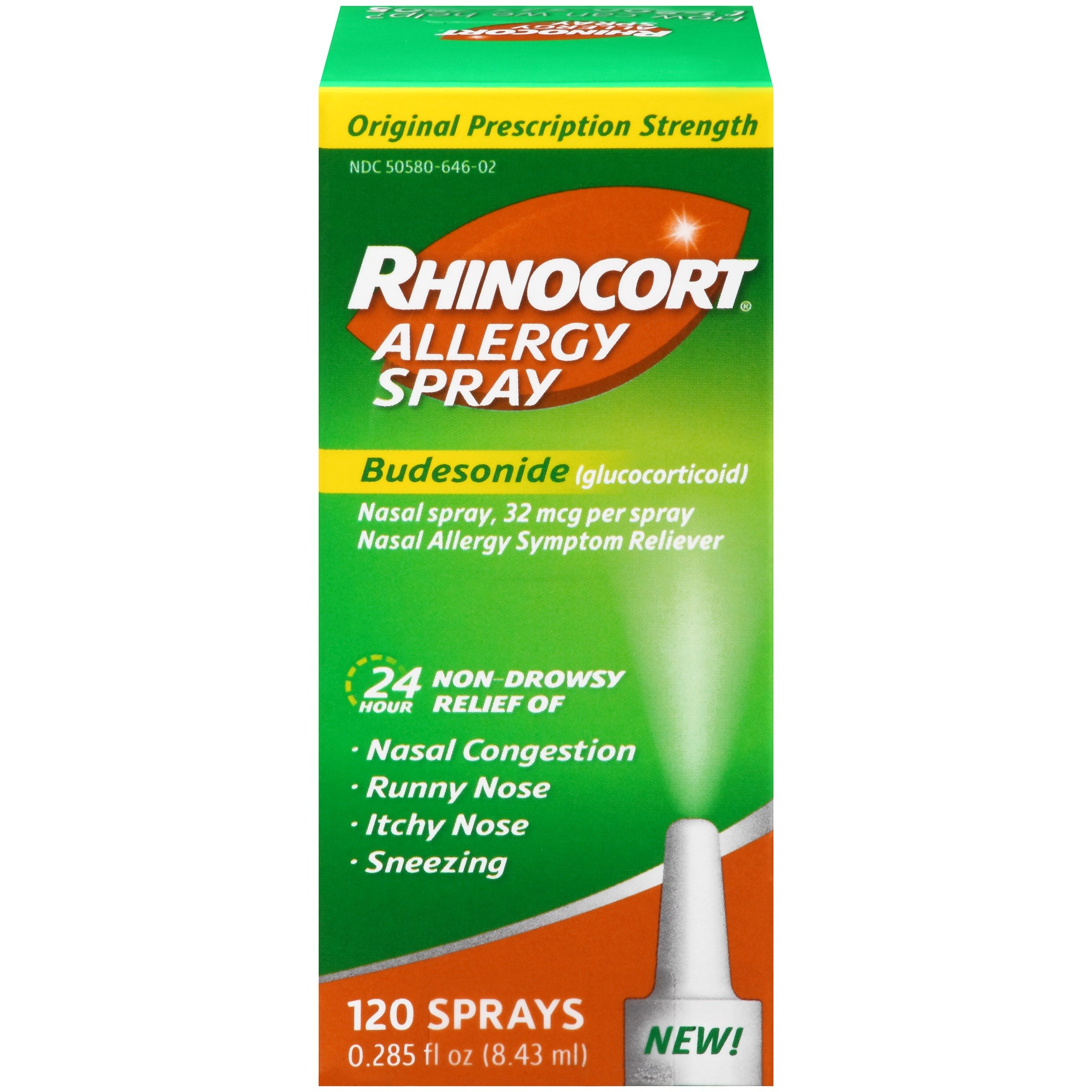 Rhinocort Allergy Nasal Spray, 24 Hour Relief, 120 Spray