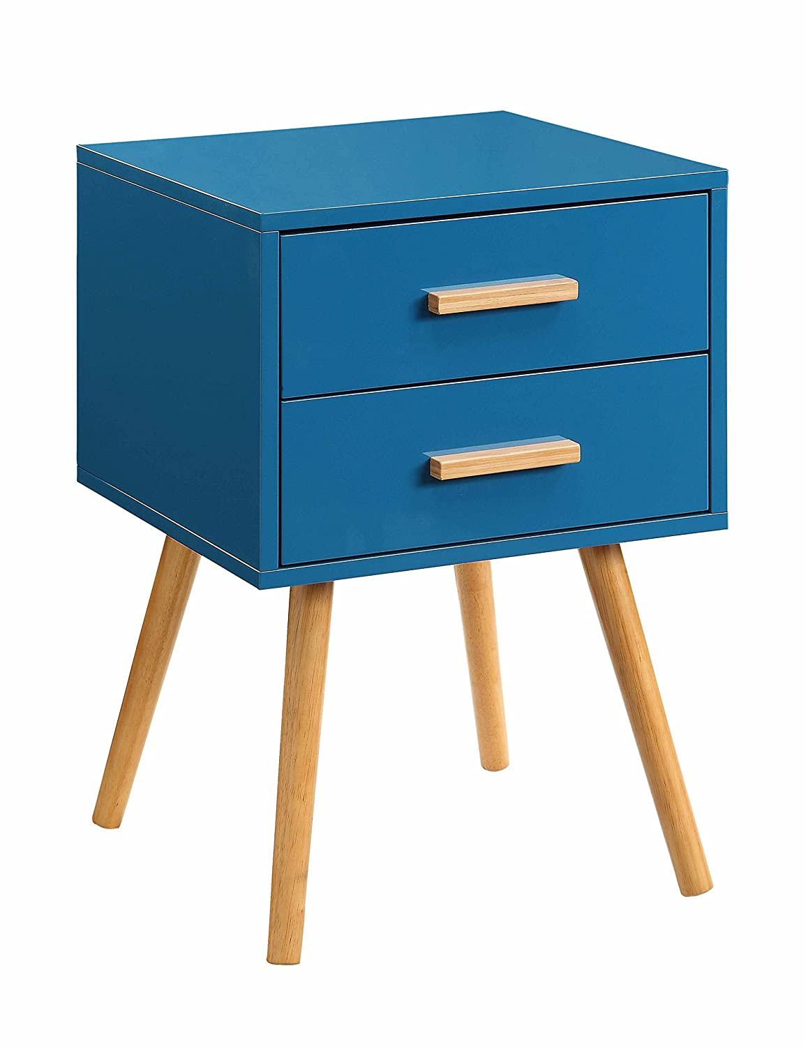 amazoncom convenience concepts oslo 2drawer end table blue kitchen u0026 dining