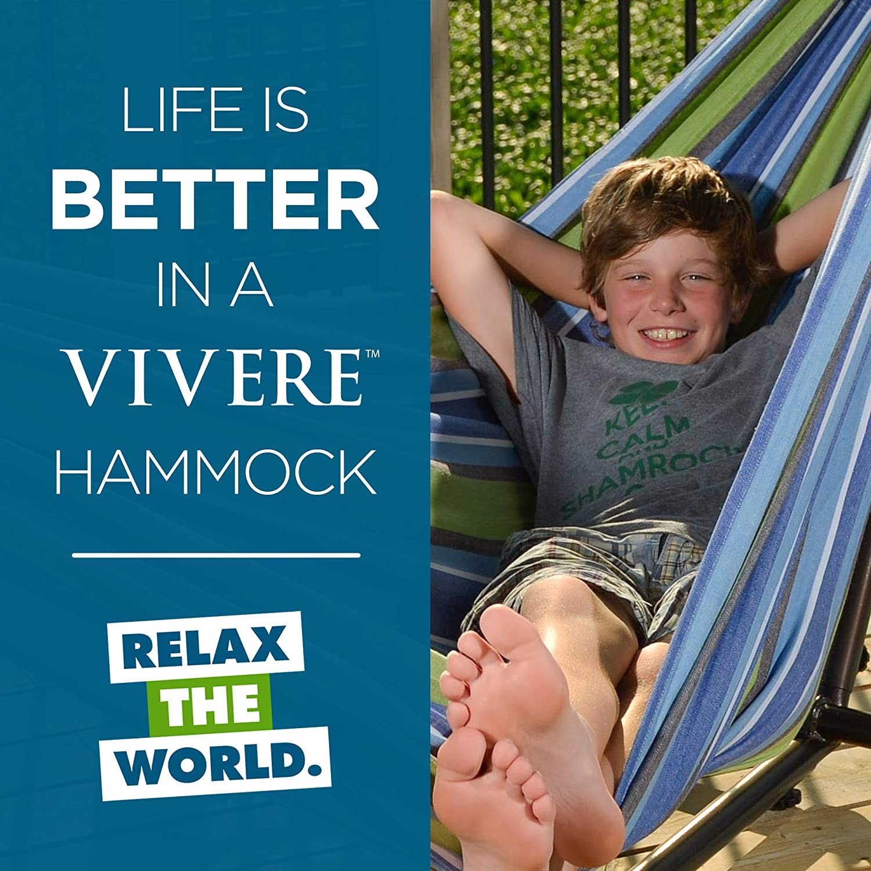 Vivere Double Hammock & 9' Steel Stand - Oasis