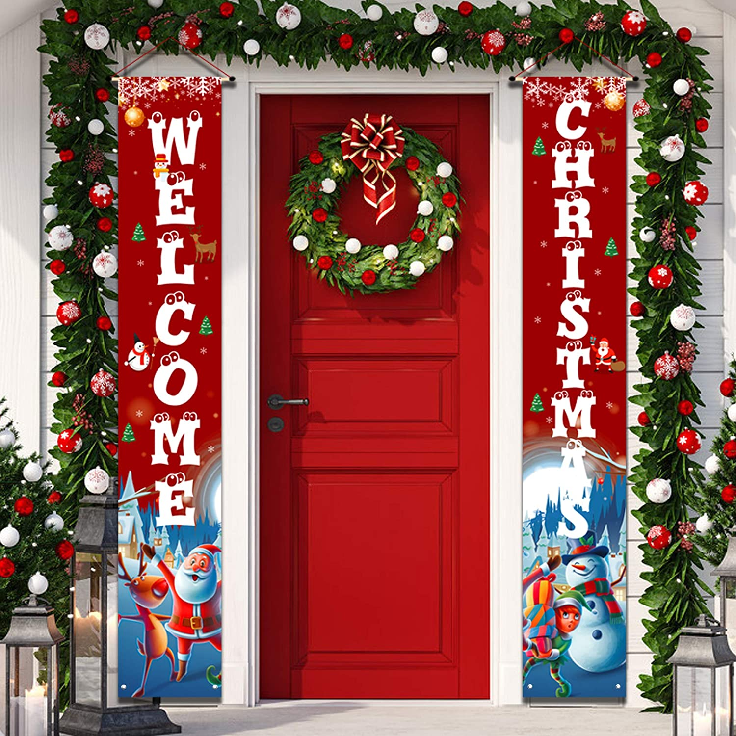 Outdoor Christmas Decorations - Merry Christmas banner sign,Hanging Christmas Door Decorations for Home Outdoor Front Door Wall Party - Red Christmas Decor Flags Large Size 12×71Inch