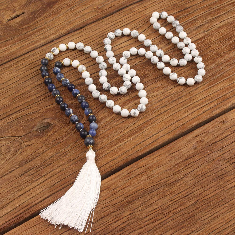 VEINTI+1 Boho Style Semi-Precious Stone Beads with Tassels Long Necklace Sweater Chain