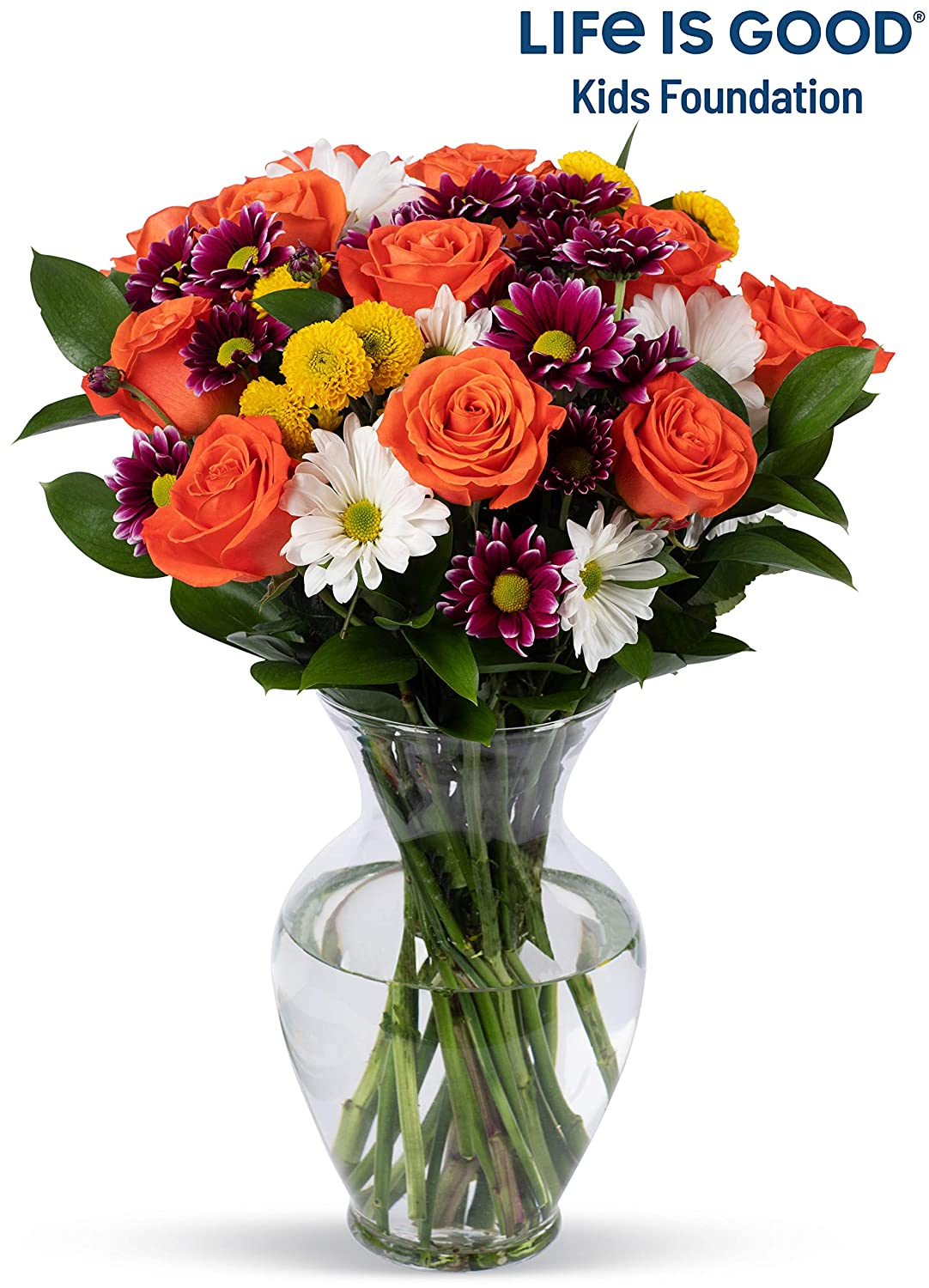 264 & Benchmark Bouquets Life is Good Flowers Orange With Vase (Fresh Cut Flowers)