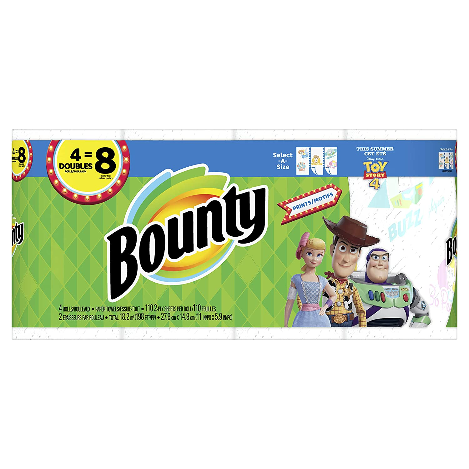 4 Double Rolls = 8 Regular Rolls Disney Toy Story Print Bounty Select-A-Size Paper Towels