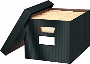 Bankers Box STOR/FILE Decorative Medium-Duty Storage Boxes, FastFold, Lift-Off Lid, Letter/Legal, Pinstripe, 4 Pack (0029803)