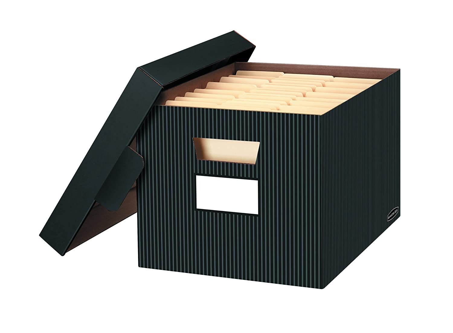 office file boxes.  Boxes Amazoncom  Bankers Box StoreFile Decorative Storage Boxes LetterLegal  10 X 12 15 Inches Pinstripe 4 Pack 0029803 Office Products To File Boxes