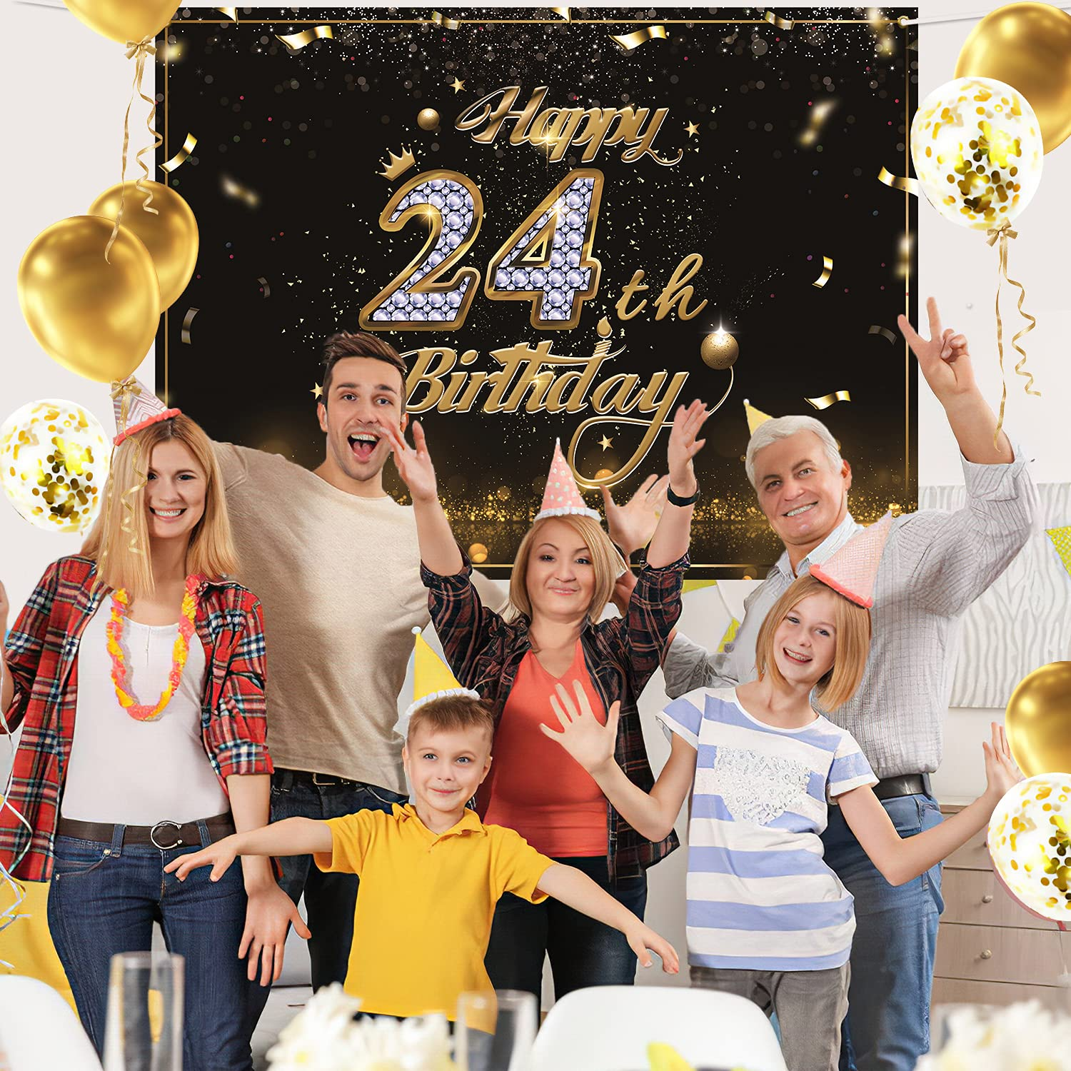 Gatherfun Birthday Party Supplies Happy 24th Birthday Banner Backdrop with 10 Pcs balloons Black Gold Birthday Party Large Background Photo Props for Men and Women 24 Birthday Decorations