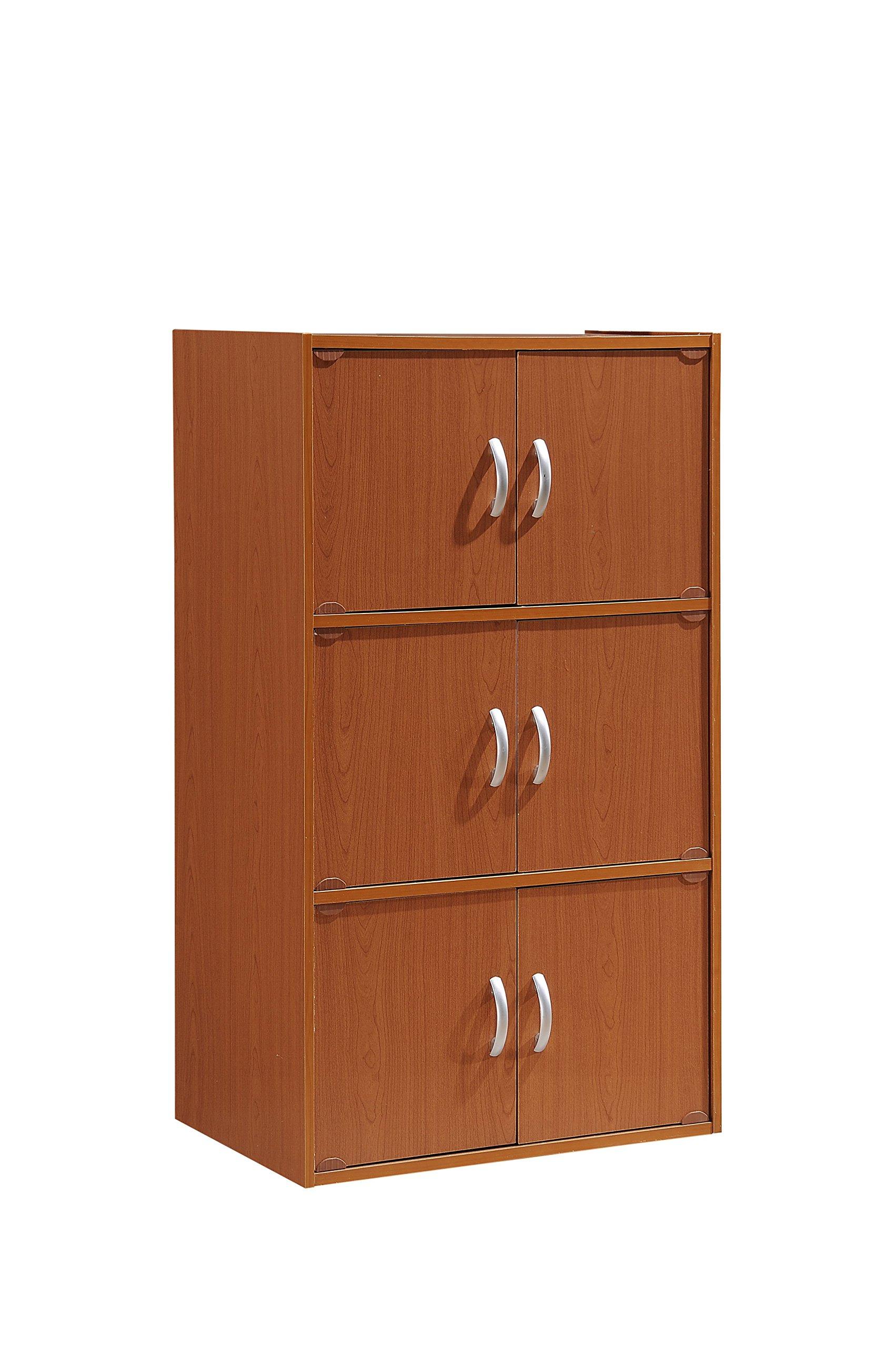 Hodedah 6 Door, Three Shleves, Enclosed Storage Cabinet, Cherry by HODEDAH IMPORT (Image #1)