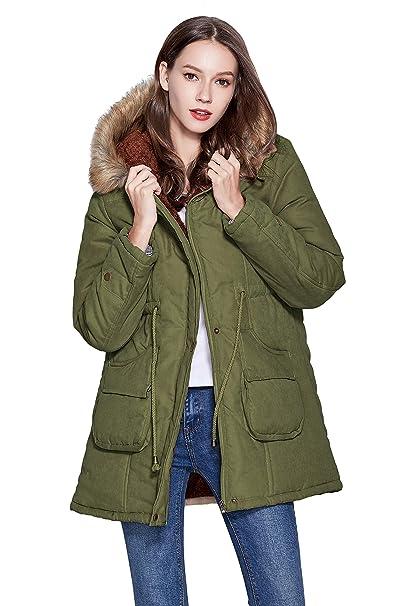 a6759481f4d Amazon.com  Freeprance Winter Coats for Women Parka Jacket Coat with Faux  Fur Lining Hood  Clothing