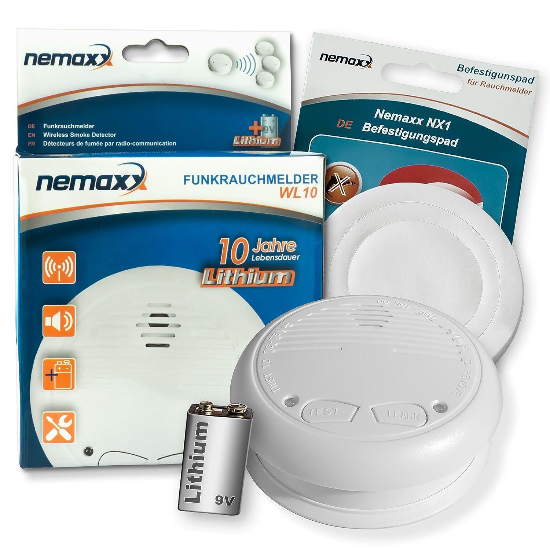 1x Nemaxx WL10 Detector de Humo inalámbrico - con 10 años de batería de lítio- de Acuerdo con la Norma DIN EN 14604 + 1x NX1 Pad de fijación de Soporte: ...