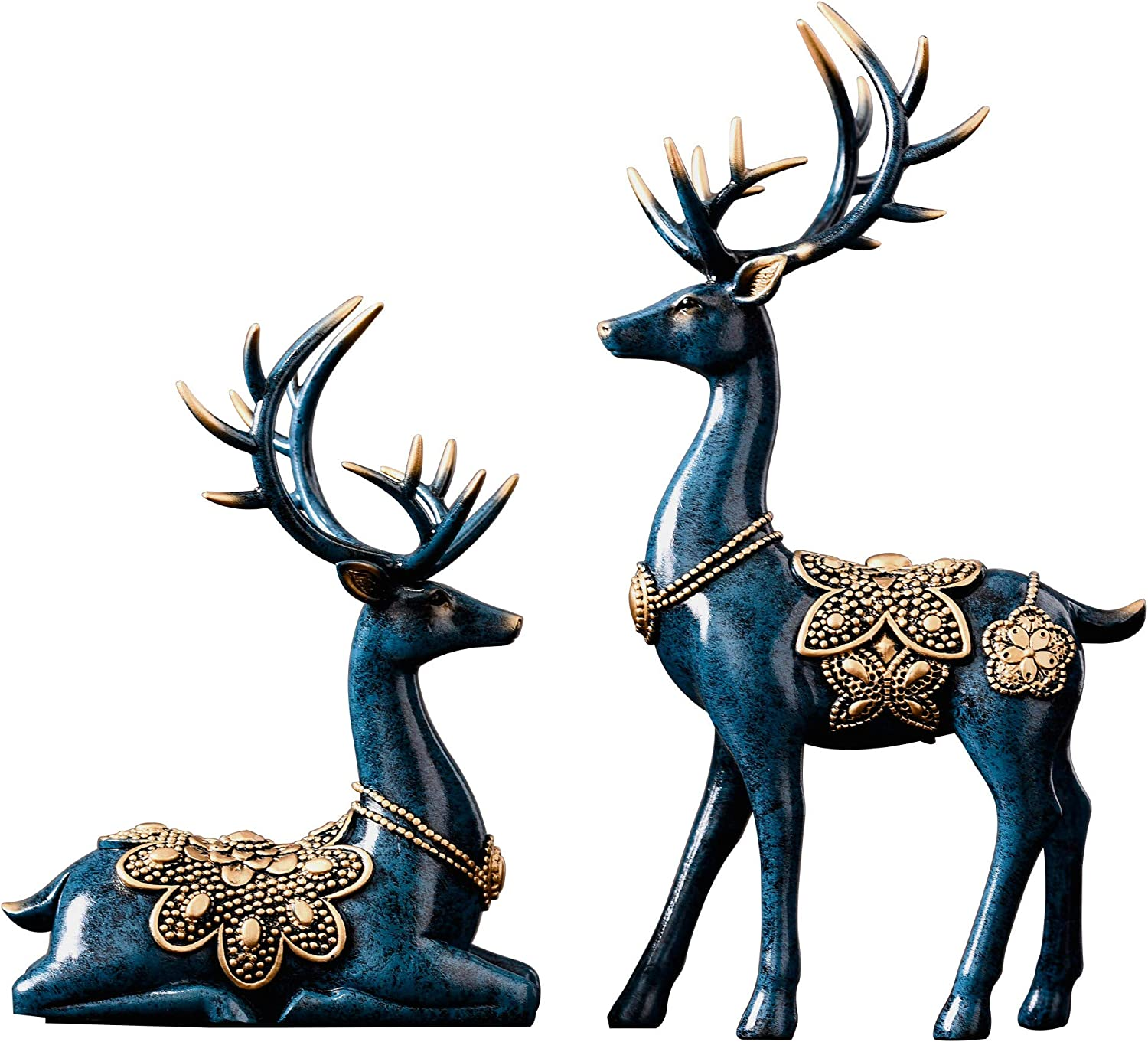 MAYIAHO Statues for Home Decor Figurines Sculptures, Deer Decorations Center Table Living Room Resin 2pcs, Small Shelf Accents Bookshelf Fireplace Tv Stand Items Christmas Reindeer Blue Unique.