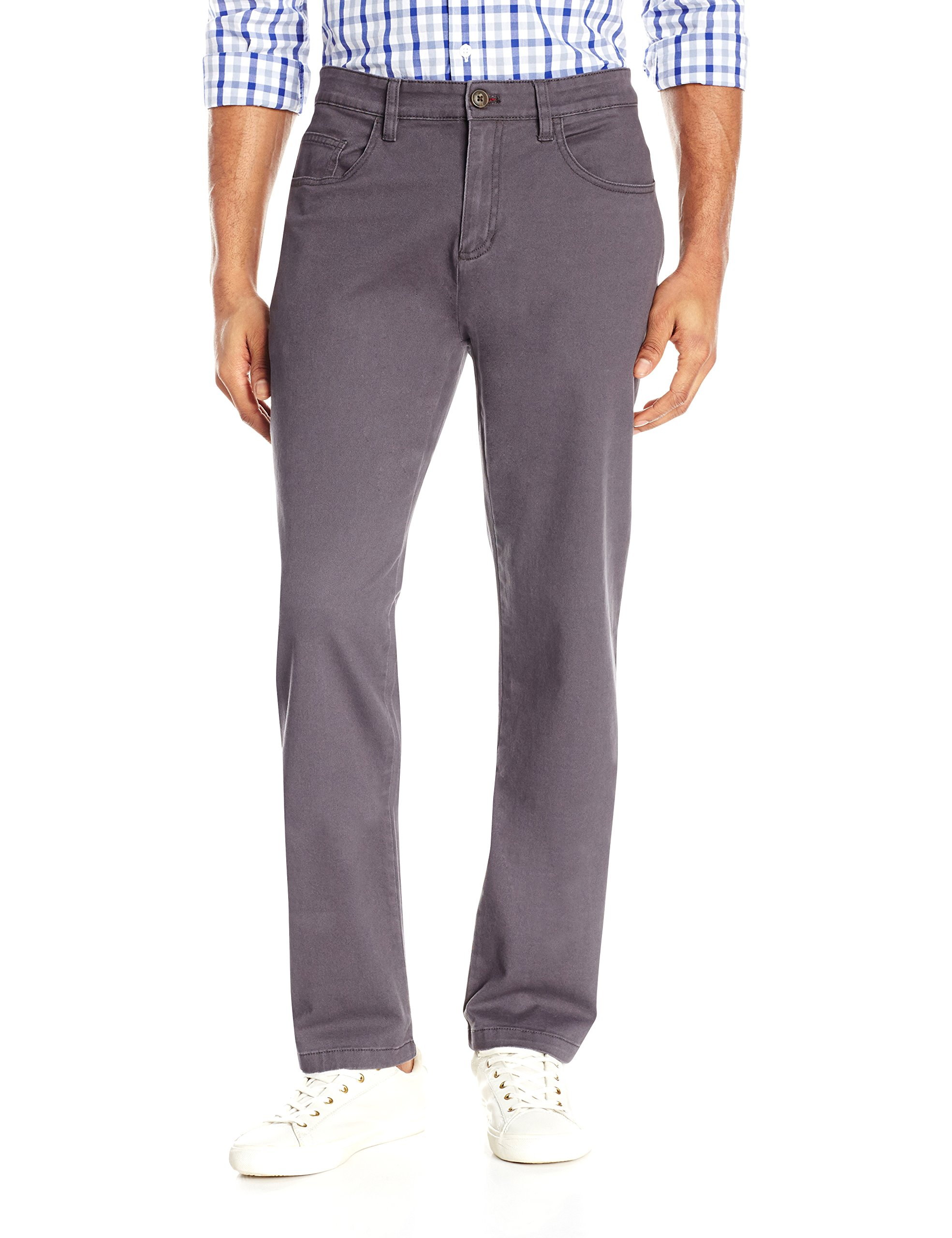 Goodthreads Men's Athletic Fit 5-Pocket Chino Pant, Grey, 33W x 30L