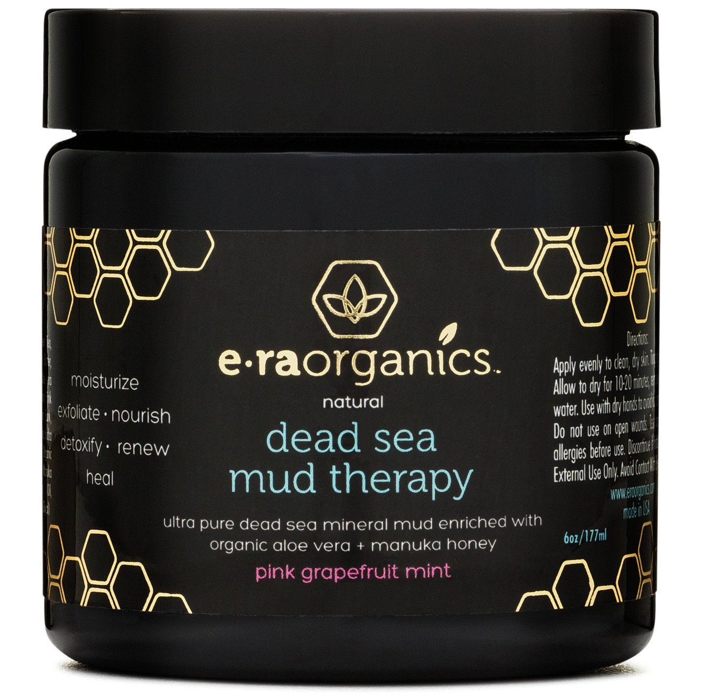 Dead Sea Mud Mask with Organic Aloe Vera, Shea Butter, Manuka Honey & Hemp Oil (6oz) Spa Quality Face Mask to Cleanse & Minimize Pores, Moisturize, Detoxify & Exfoliate (In Pink Grapefruit Mint)