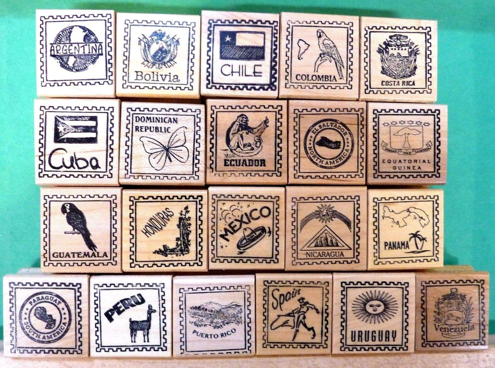 Quality Custom Rubber Stamps Country/Passpo Carved Wooden Stamps