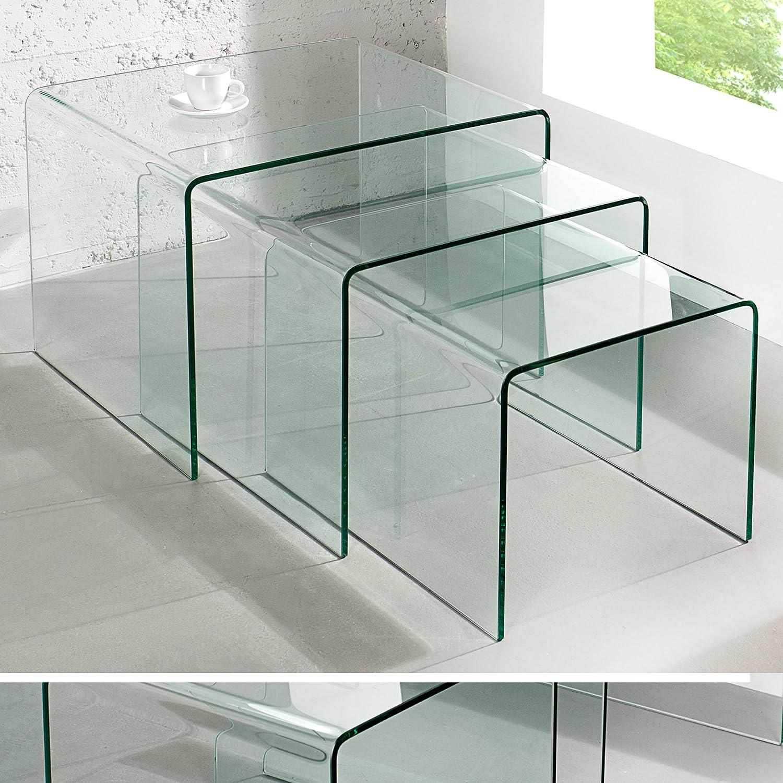 3er Set Glas Couchtisch GHOST 60cm Beistelltische Transparent Glastisch Tische Amazonde Kche Haushalt