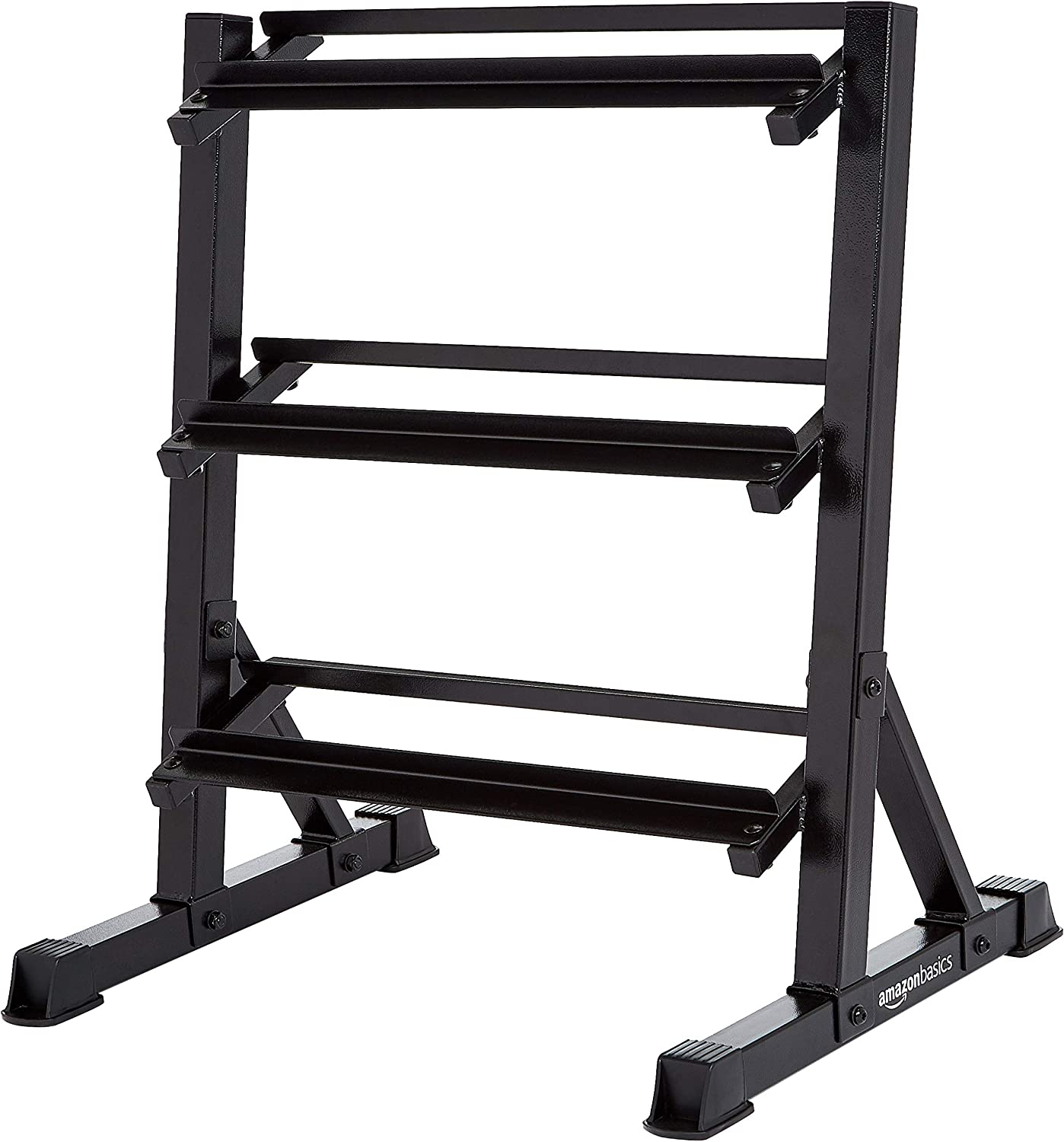 AmazonBasics 3 Tier Dumbbell Weight Rack Black Iron Indoor Home Workout Fitness