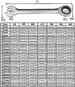 Regard Natral 6mm-32mm Getriebe Schraubenschl/üssel Chrom-Vanadium-Stahl Metric B/ügel Ratschenschl/üssel Handwerkzeug