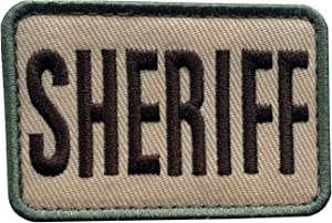 """uuKen Small Embroidered Tan OCP Multi Camo Color Style County Deputy Sheriff Office Department Patch Embroidered 3x2 inches for Military Tactical Cap Hat (Tan, XS 3""""x2"""")"""