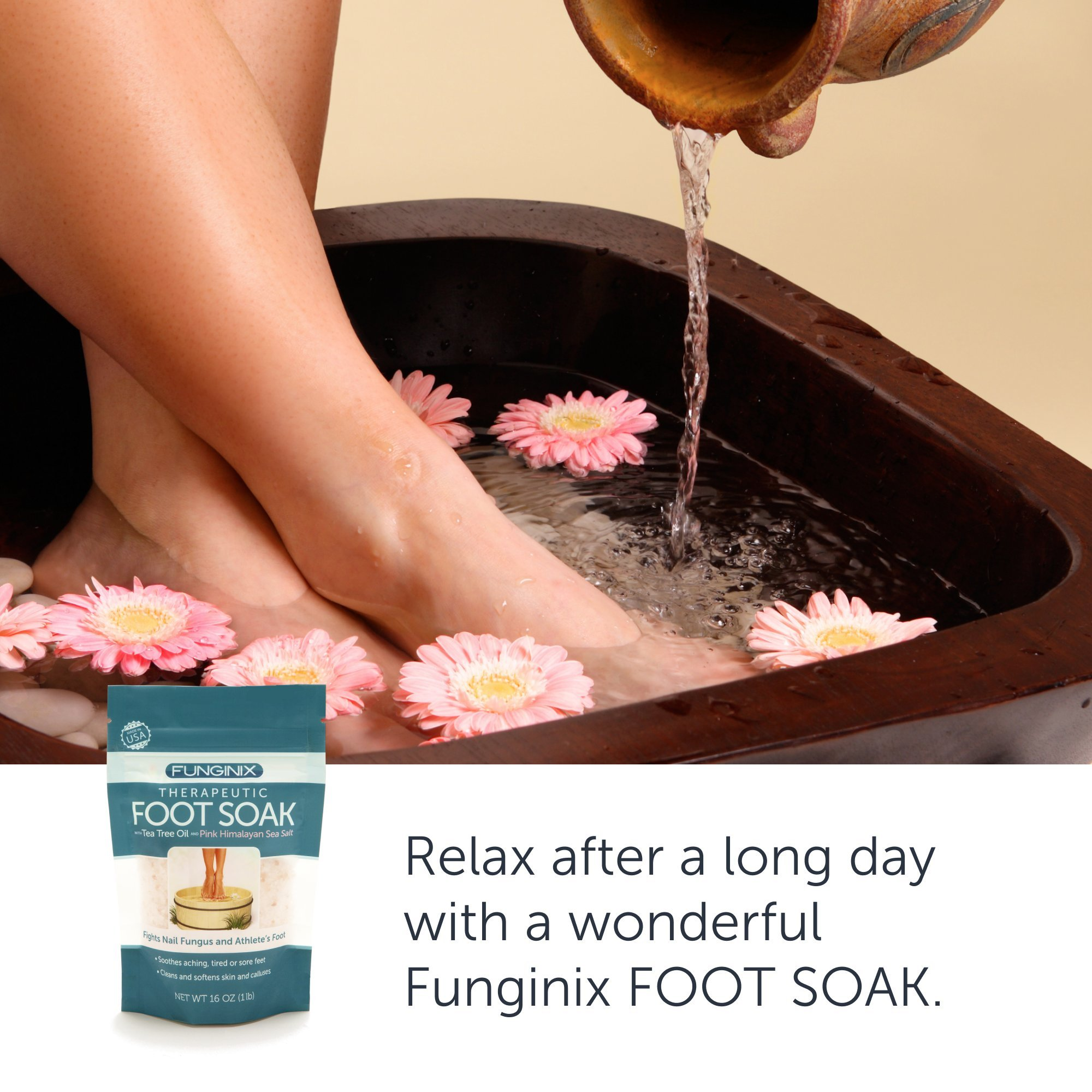 Funginix Premium Anti Fungal Foot Soak Nail Fungus Treatment with Tea Tree Oil, Himalayan Sea Salt, and Essential Oils - Treats Toenail Fungus, Athletes Foot, and Foot Odor - Foot Care for Sore Feet by Funginix (Image #6)