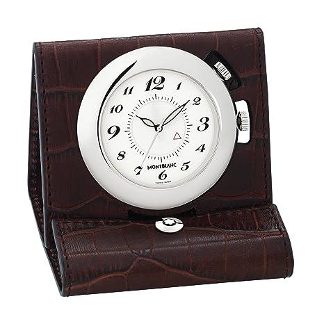 Montblanc 9677 - Reloj Despertador de Viaje (Piel), Color Marrón