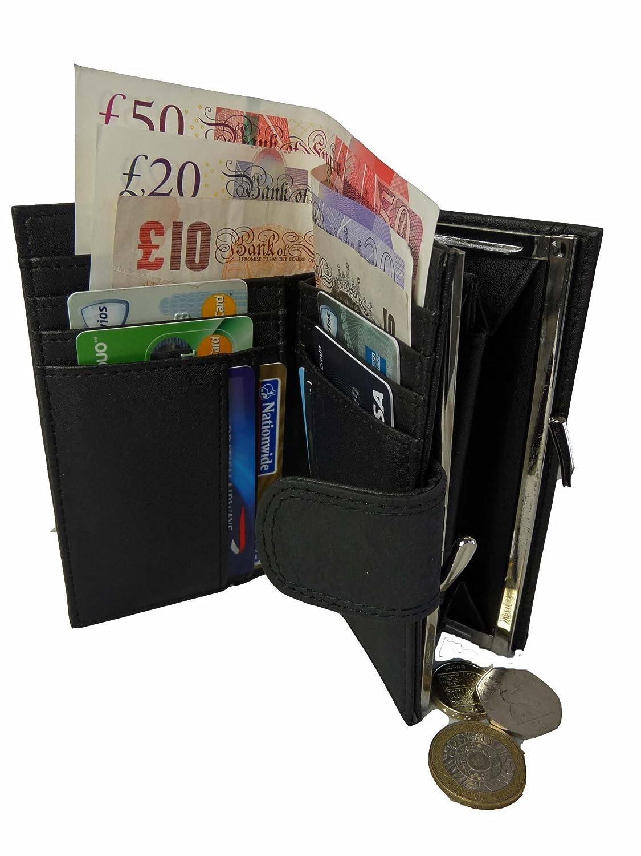 2 Ranuras para Billetes 8 Ranuras para Tarjetas de D/ébito o Cr/édito y Cierre de Bot/ón Quenchy London Cartera de Mujer con Bloqueo RFID y NFC en Piel QL439K Monedero con Broche de Metal