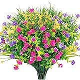 AGEOMET 8 peças de flores de plástico artificial falsas para uso externo resistente a UV planta de eucalipto arbustos de trig