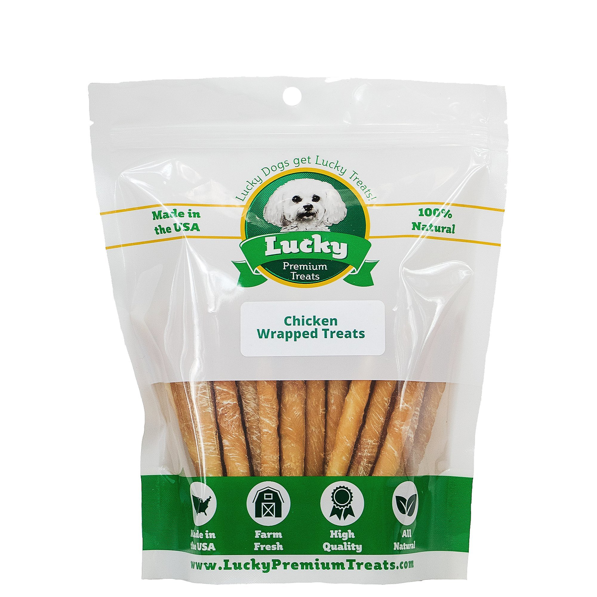 Lucky Premium Treats Healthy Chicken Wrapped Rawhide Dog Treats, All Natural Gluten Free Dog Treats for Small Dogs, 100 Chews by Lucky Premium Treats