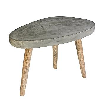 Couch Tisch Grau Aus Leichtbeton Und Eiche 60x37x43 Cm