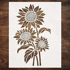 DLY LIFESTYLE Large Sunflower Stencil (12x15 Inches) - Reusable Sun Flower Stencils for Painting on Wood, Canvas, Paper, Fabric, Wall, Furniture - DIY Template for Art and Crafts