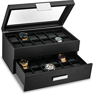 Amazoncom Watch Box Large 20 Mens Black Leather Display Glass Top