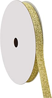 "product image for Offray 813117 5/8"" Wide Sparkle Glitter Craft Ribbon, 50 Yards, Gold"