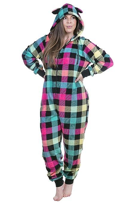 33e674db49 Women s Plus Size Warm and Cozy Plush Adult Onesie Pajamas Onesies (Multi  Buffalo